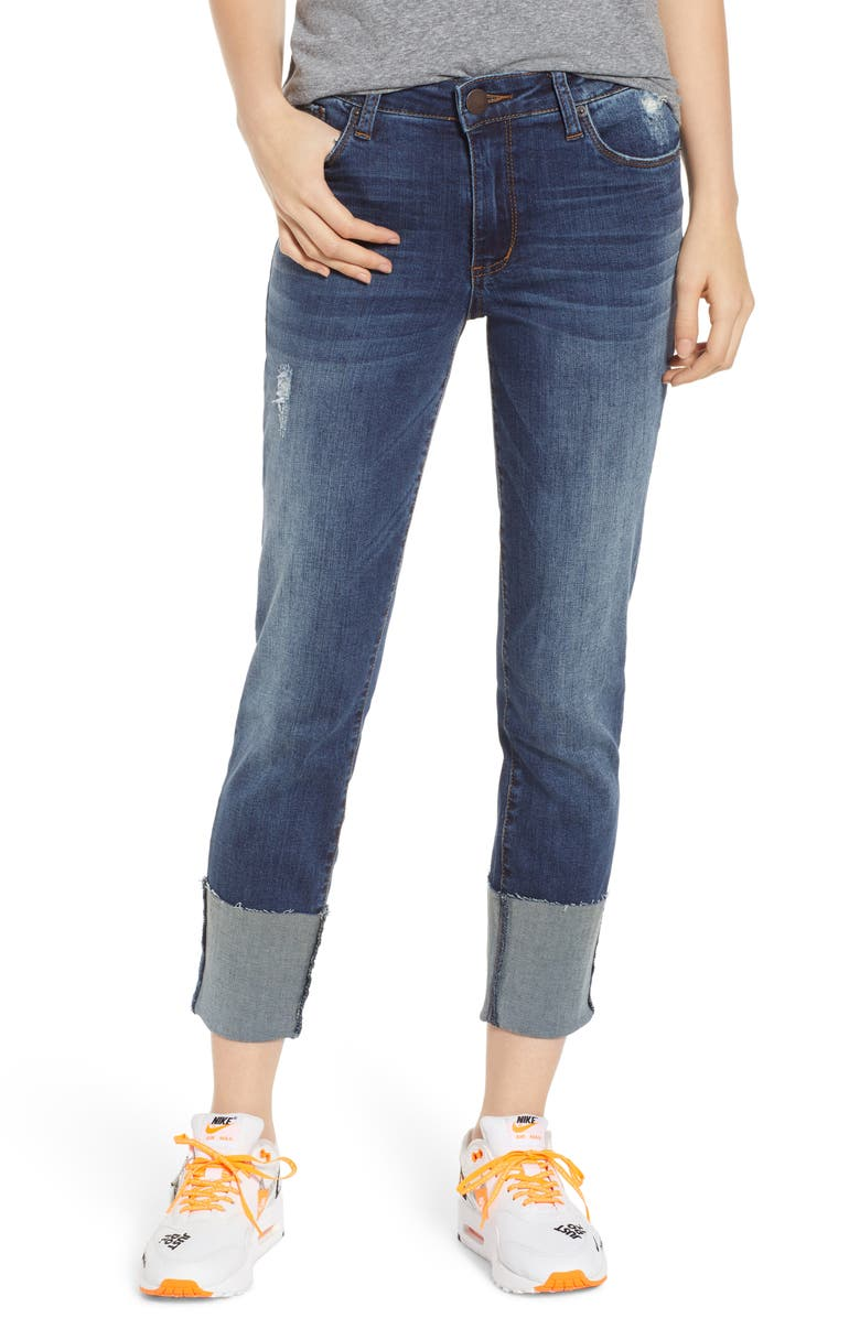 KUT FROM THE KLOTH STS Blue Lucia Cuffed Straight Leg Jeans, Main, color, MACE
