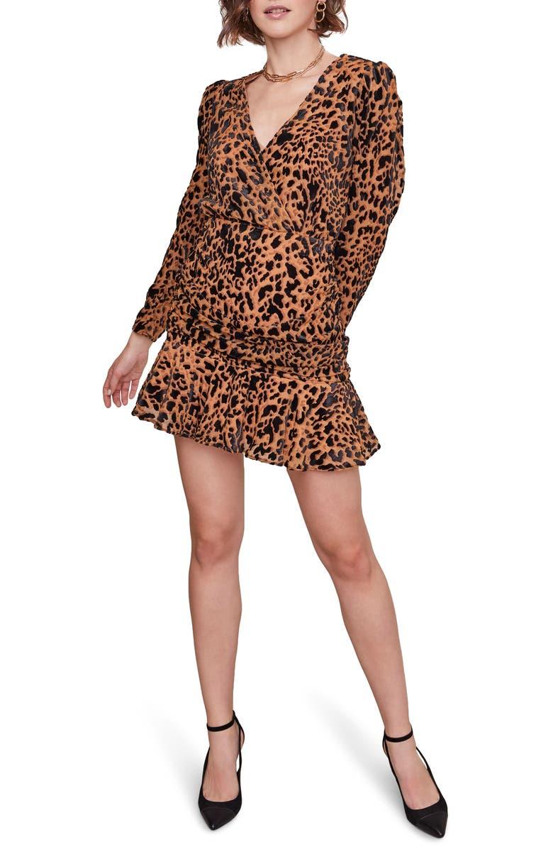 ASTR THE LABEL Nikita Leopard Print Wrap Front Long Sleeve Minidress, Main, color, BURNOUT LEOPARD