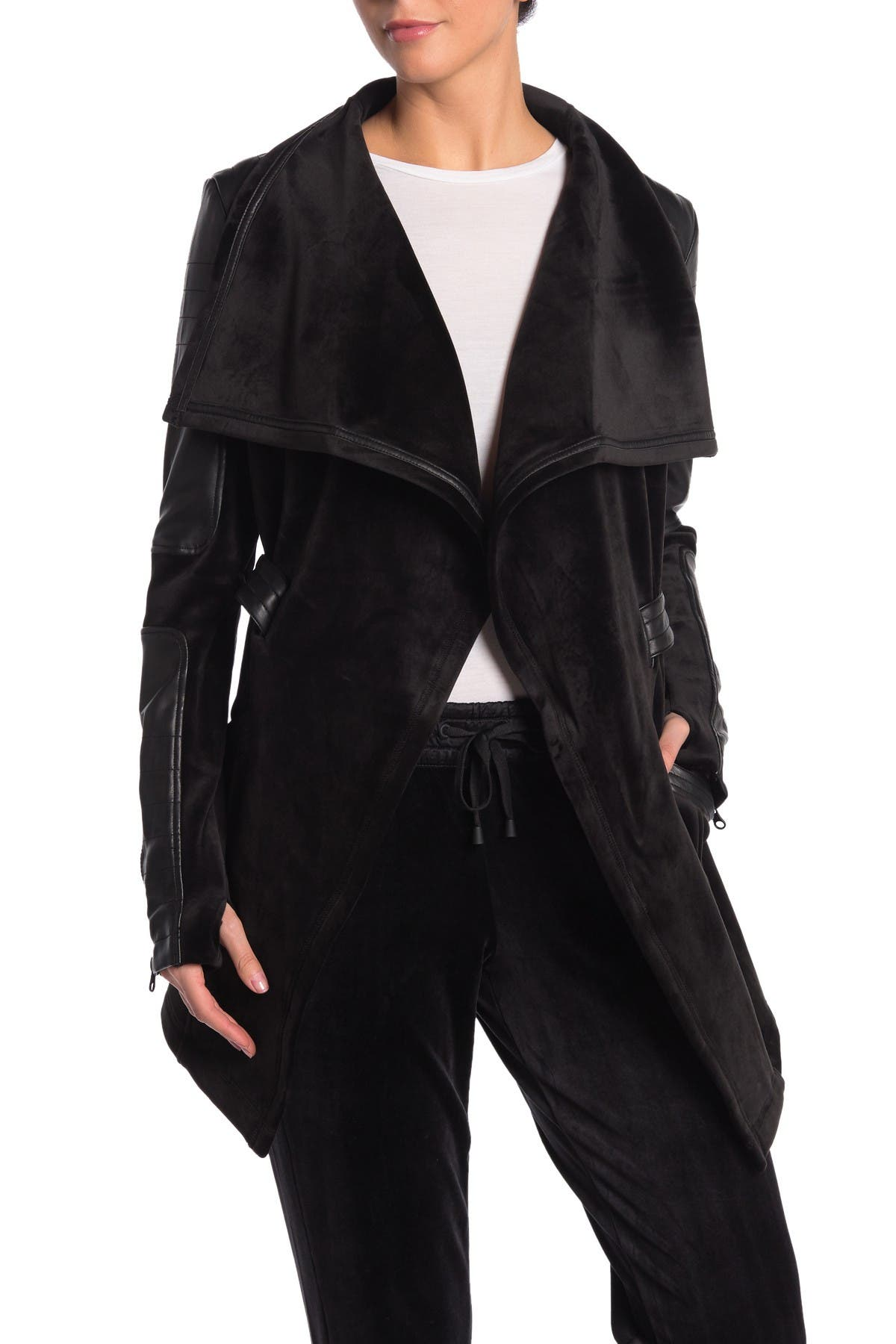 Image of Blanc Noir Belted Faux Leather Panel Jacket