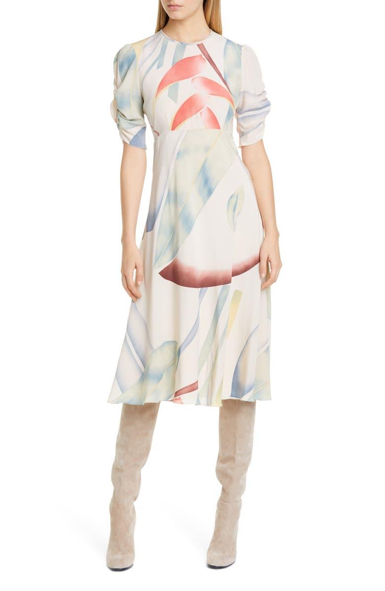 ETRO Watercolor Leaf Print Silk Midi Dress, Main, color, WHITE
