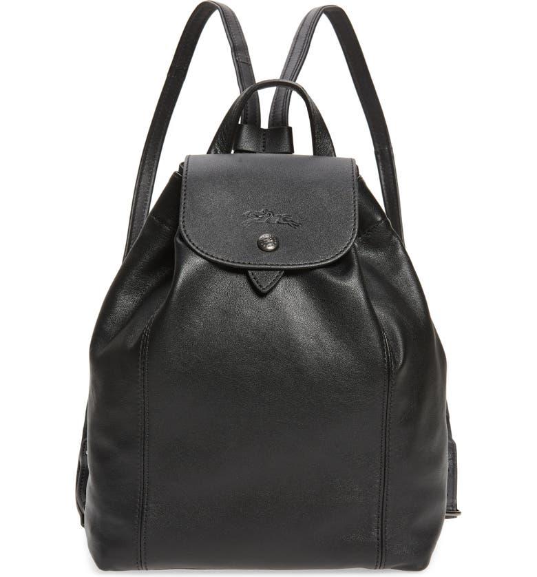 LONGCHAMP Le Pliage Leather Backpack, Main, color, BLACK