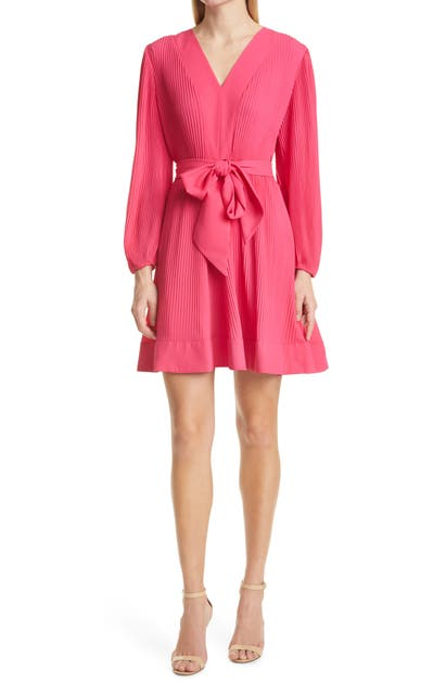 Milly LIV PLEATED LONG SLEEVE FIT & FLARE DRESS