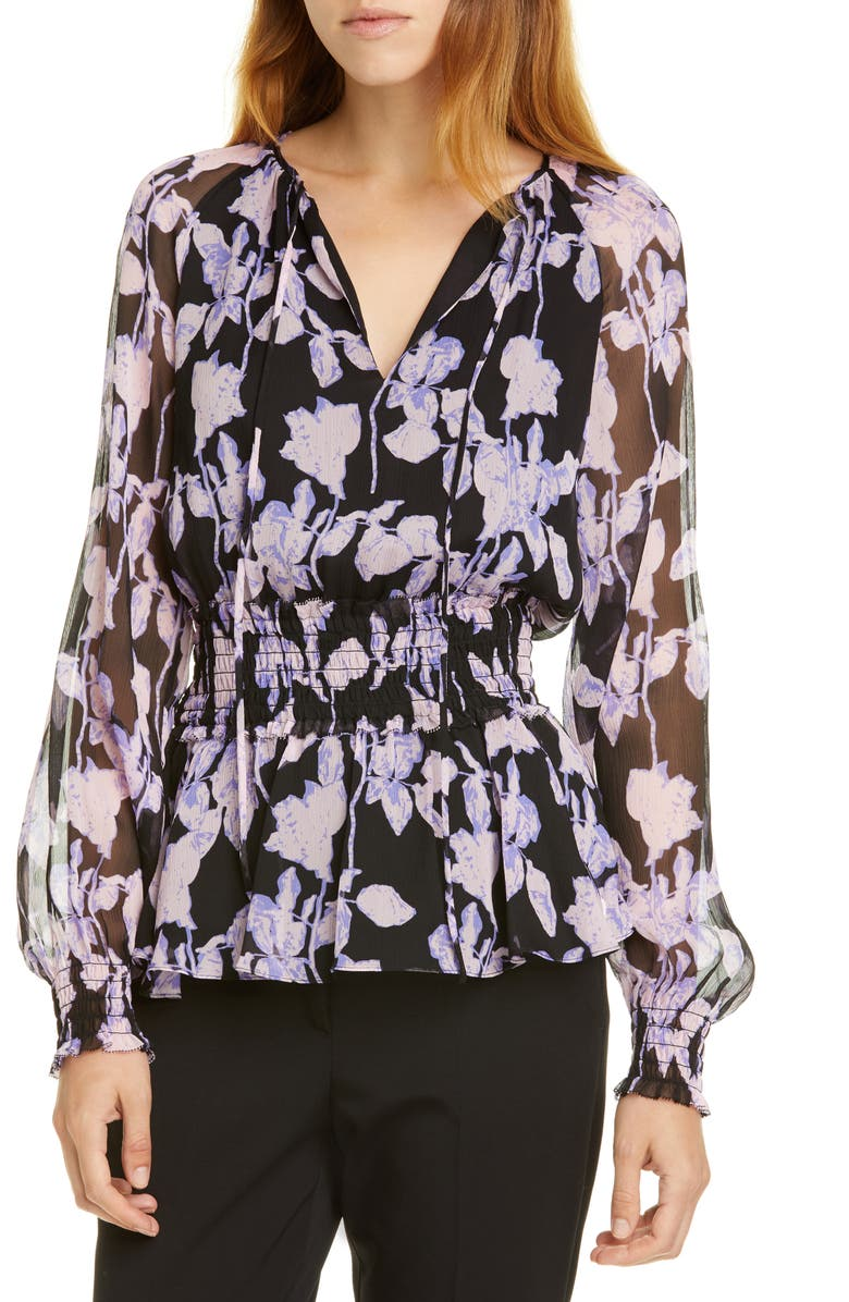 DVF Jacie Floral Print Silk Peplum Top, Main, color, MIDNIGHT FOREST BLACK