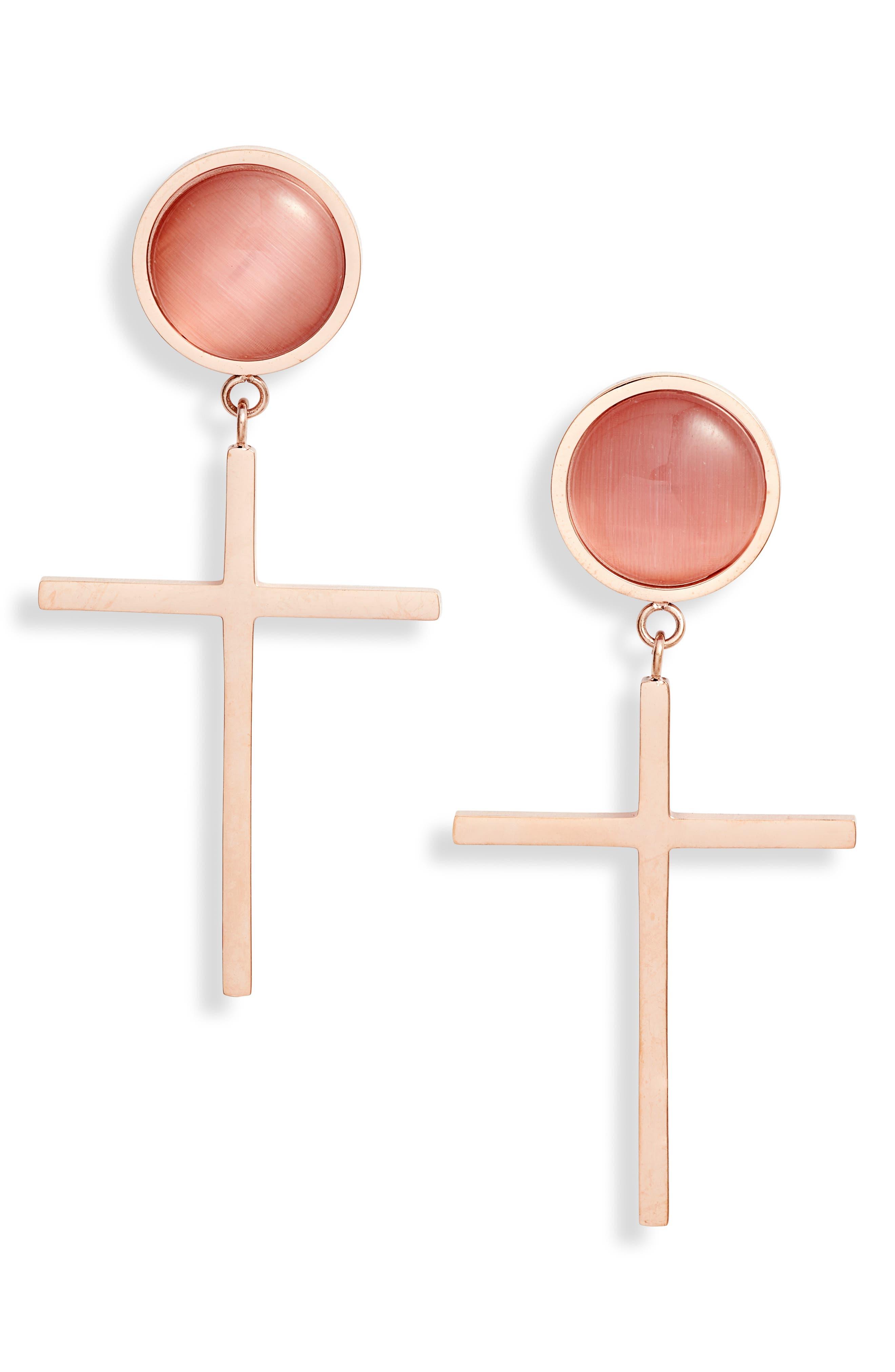 Semiprecious Stone Cross Earrings