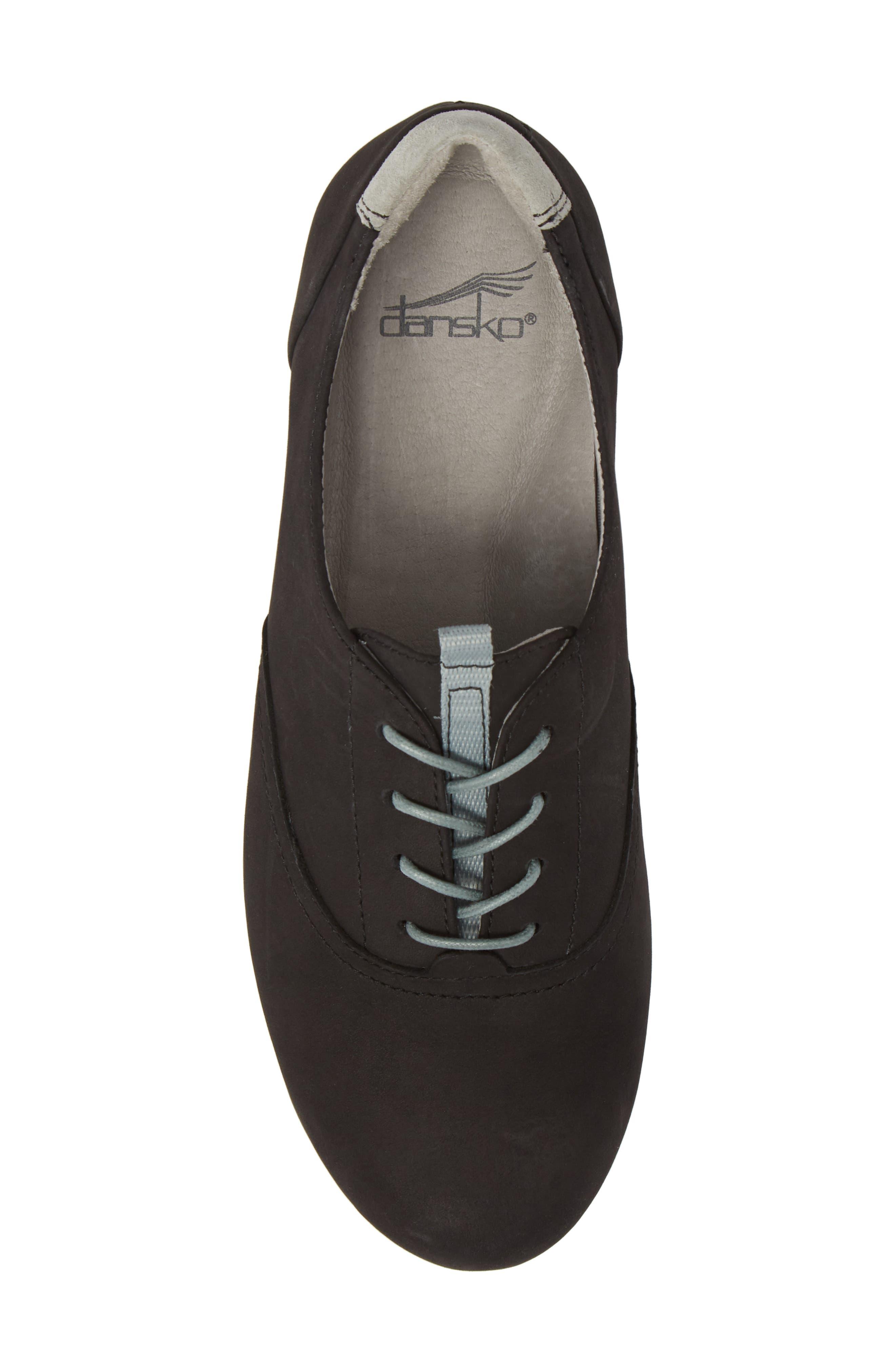 ,                             Kimi Wedge Sneaker,                             Alternate thumbnail 5, color,                             BLACK MILLED NUBUCK LEATHER