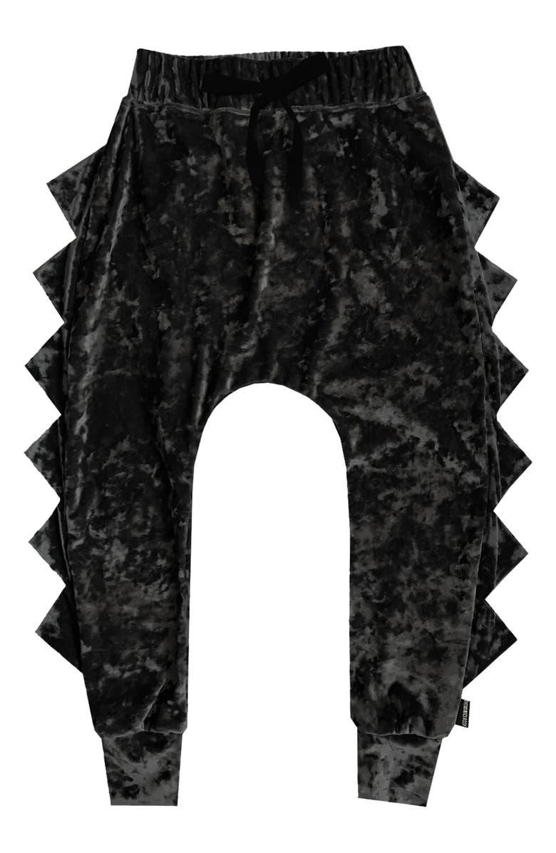 THEMINICLASSY Crushed Velvet Dino Harem Pants, Main, color, BLACK