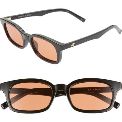 Le Specs Carmito 51Mm Rectangle Sunglasses - Black/ Cinnamon Tint