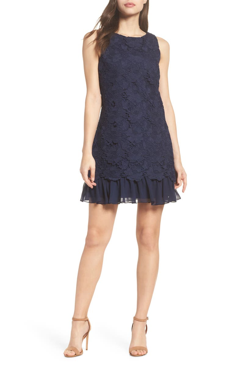 b24b91c4 Eliza J Lace Ruffle Hem Sheath Dress (Regular & Petite) | Nordstrom