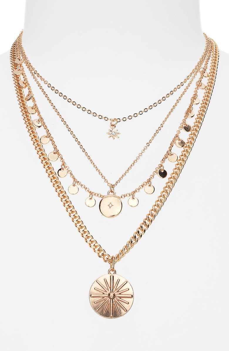 BP. Layered Star Disc Necklace, Main, color, CLEAR- GOLD