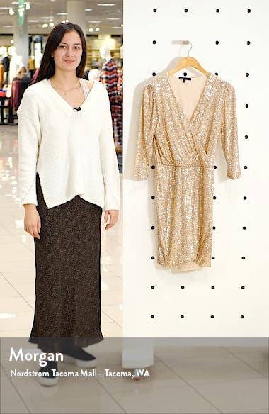 x Glam The Motherchic Sequin Faux Wrap Holiday Dress, sales video thumbnail