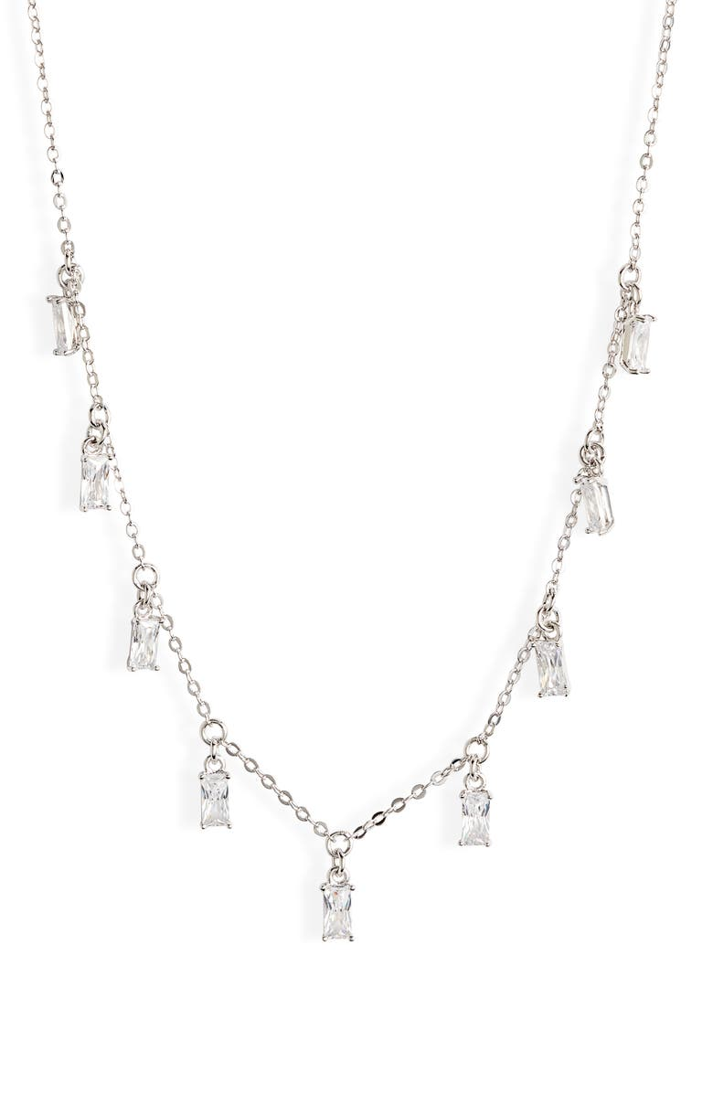 NORDSTROM Cubic Zirconia Baguette Shaker Necklace, Main, color, CLEAR- SILVER