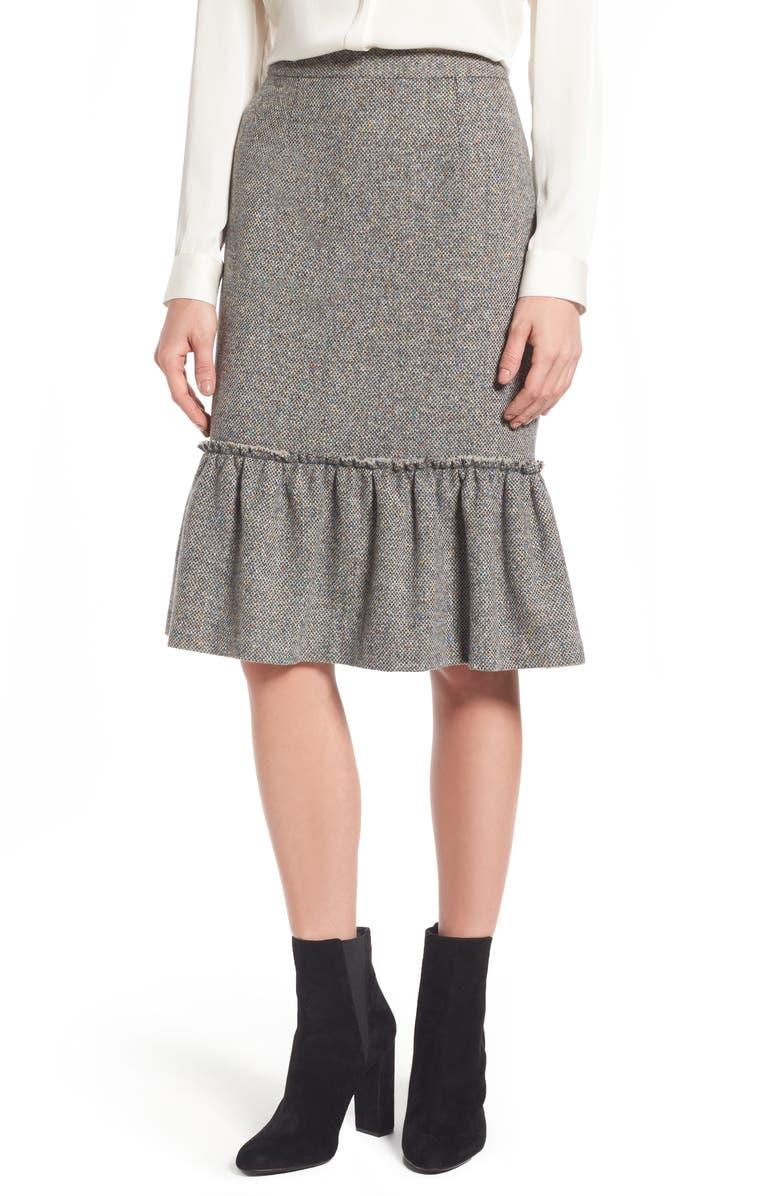 HALOGEN<SUP>®</SUP> Ruffle Hem Pencil Skirt, Main, color, 030
