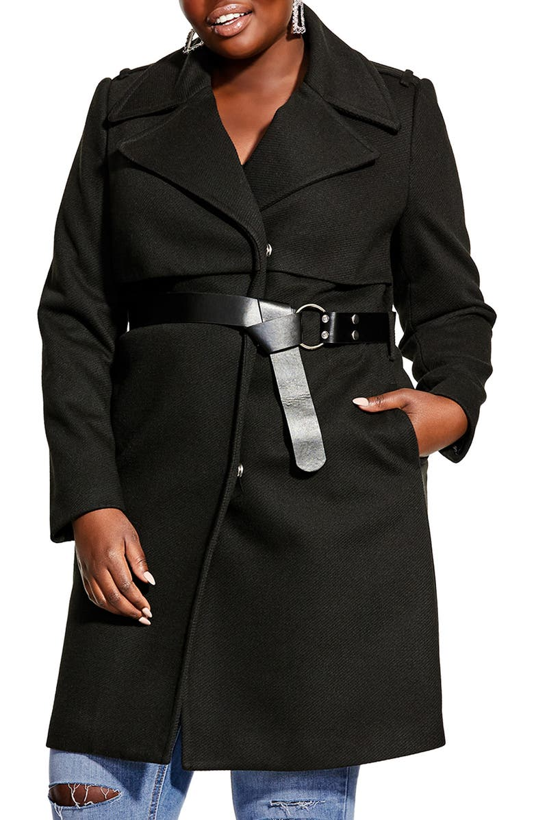 CITY CHIC Longline Belted Coat, Main, color, BLACK