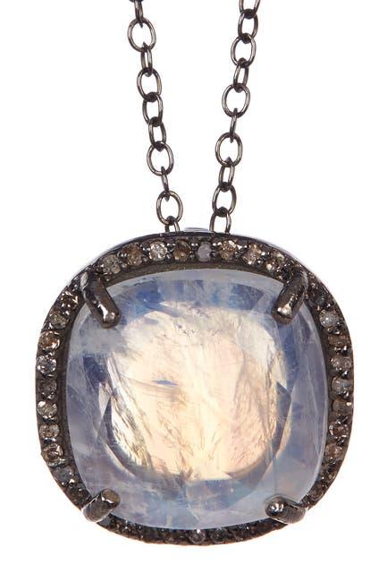 Image of ADORNIA Moonstone Diamond Halo Lara Necklace - 0.70 ctw