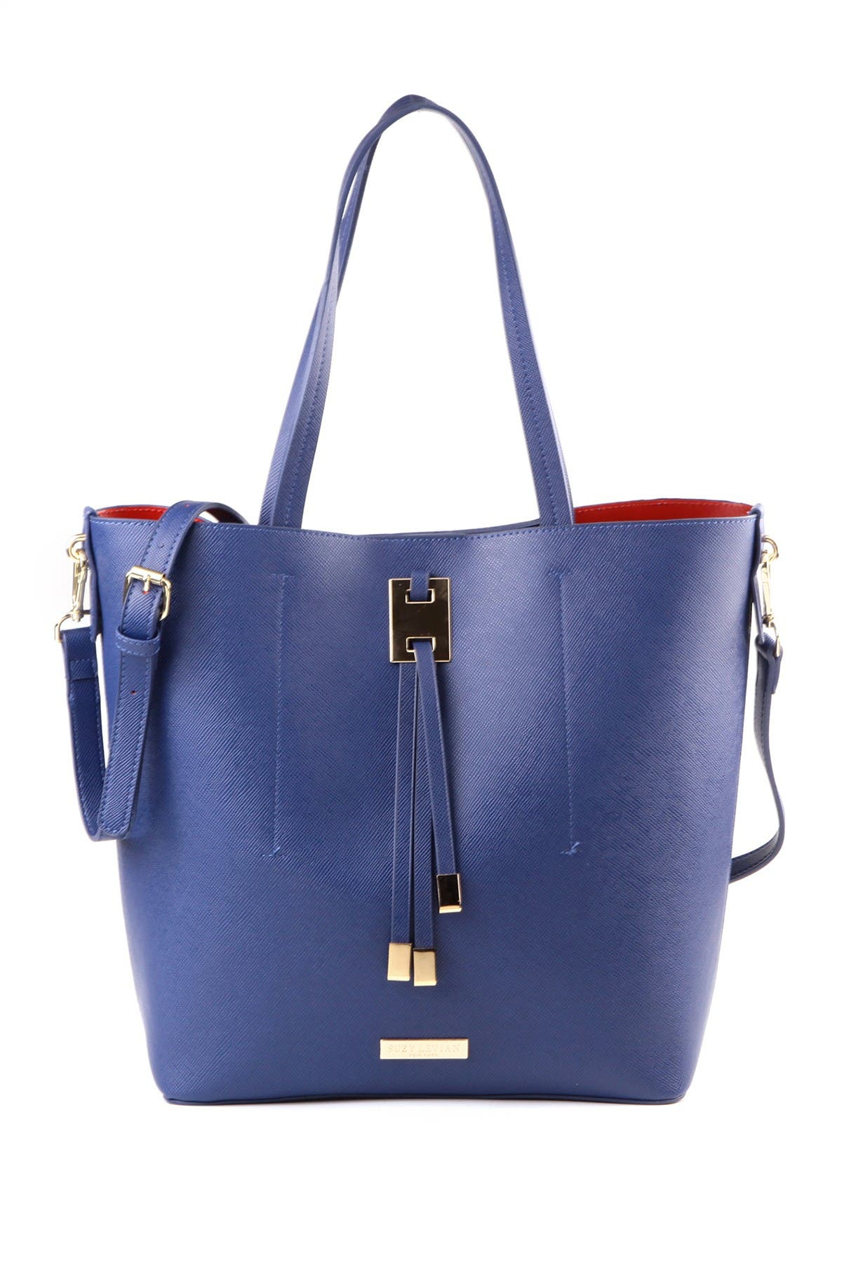 Image of Suzy Levian Saffiano Faux Leather Tall Tote Bag