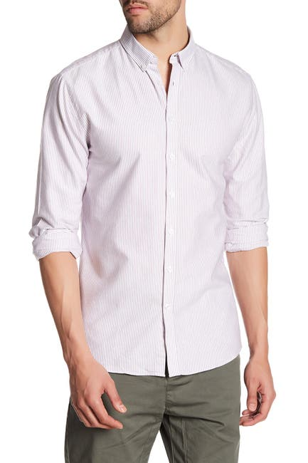 Image of Lindbergh Oxford Striped Long Sleeve Regular Fit Shirt