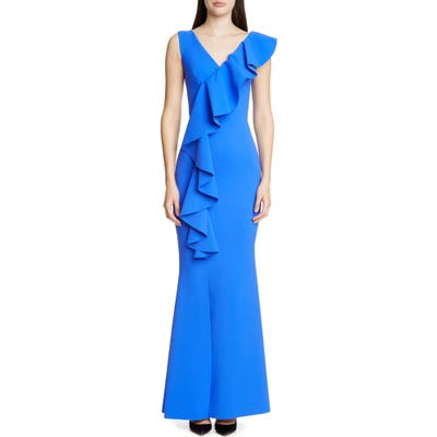 Chiara Boni La Petite Robe Janka Ruffle Evening Gown, US / 40 IT - Blue
