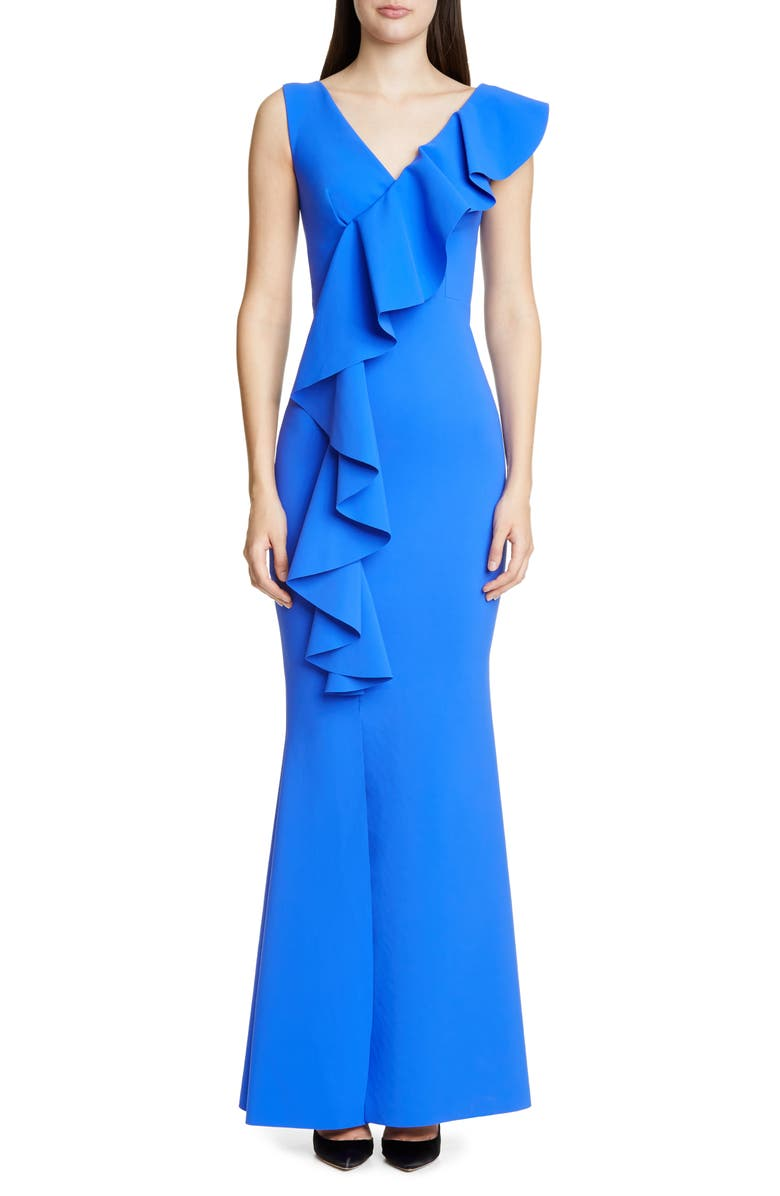 CHIARA BONI LA PETITE ROBE Janka Ruffle Evening Gown, Main, color, BLUE