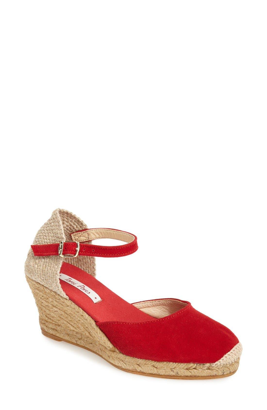 Textural interplay takes center stage on a handcrafted quarter-strap sandal lifted by an espadrille-style wedge and platform. An unexpected heel cutout and breezy open sides make this a fun choice for warmer weather. Style Name: Toni Pons \\\'Lloret-5\\\' Espadrille Wedge Sandal (Women). Style Number: 1056917. Available in stores.