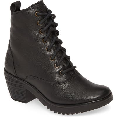 Fly London Wune Lace-Up Bootie-7- Black