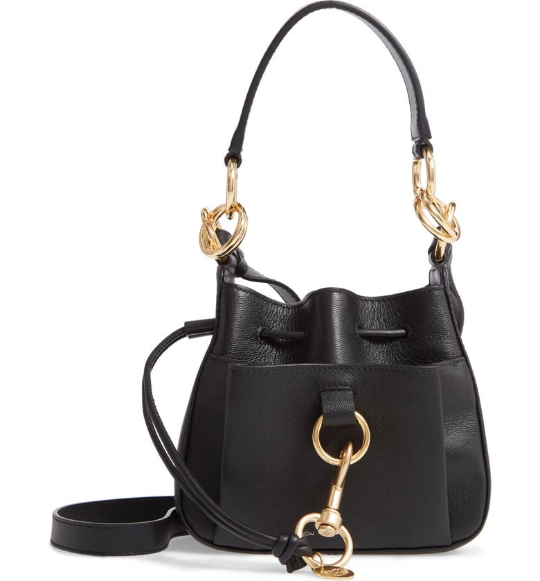 SEE BY CHLOÉ Mini Tony Leather Bucket Bag, Main, color, 001