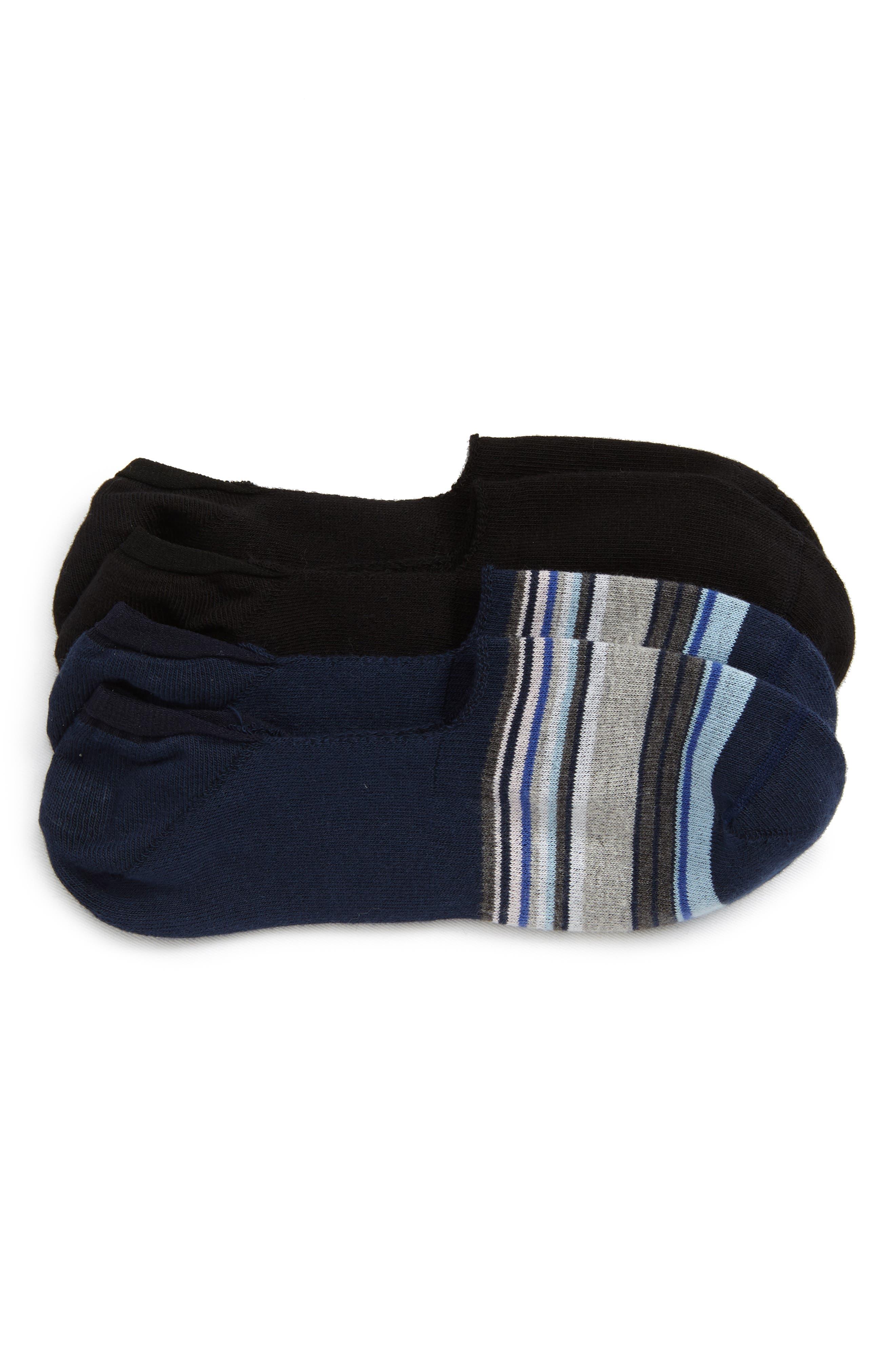 2-Pack Liner Socks, Main, color, NAVY/ BLACK