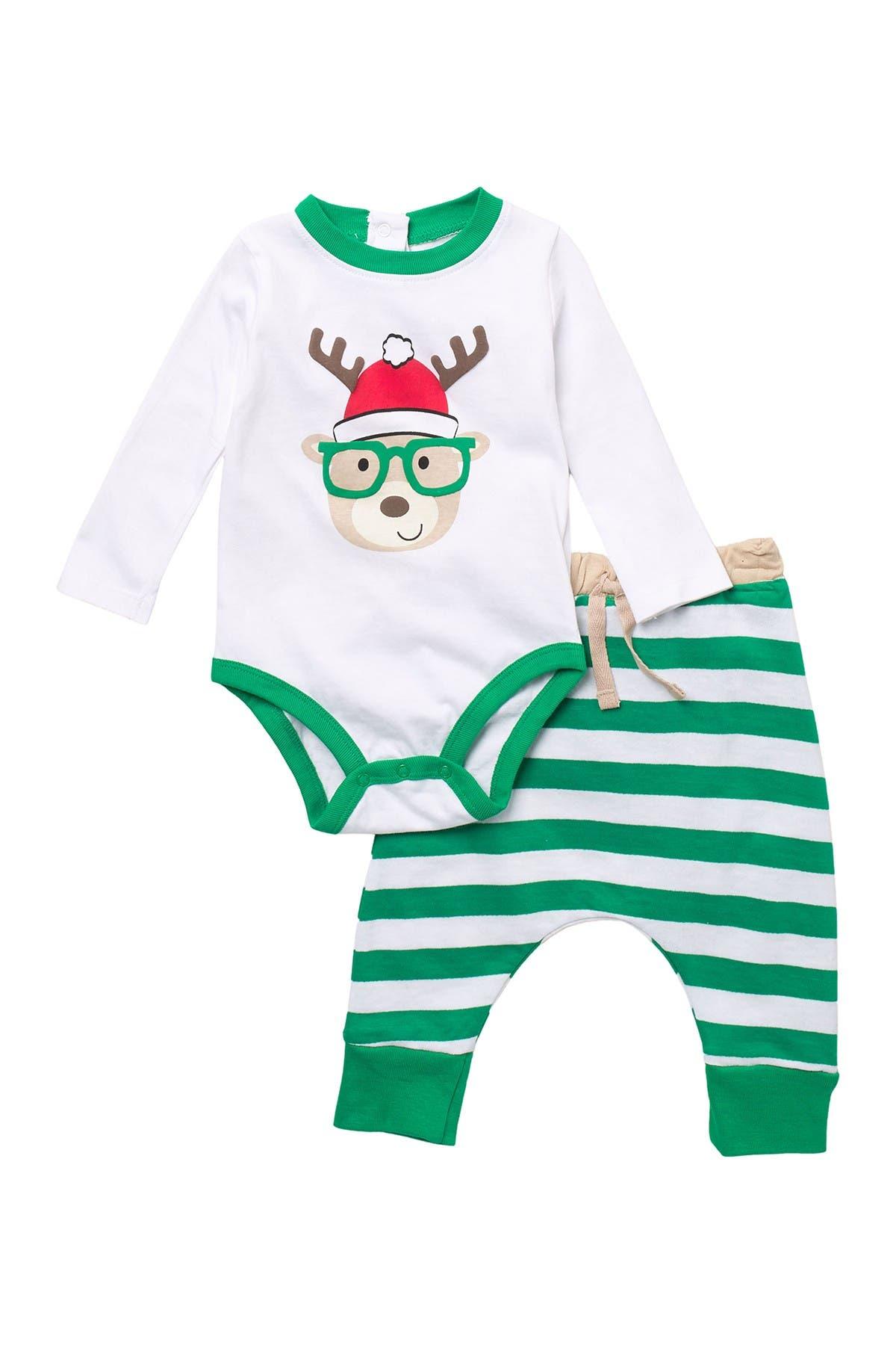 Image of koala baby Reindeer Stripe Bodysuit & Joggers Holiday Set
