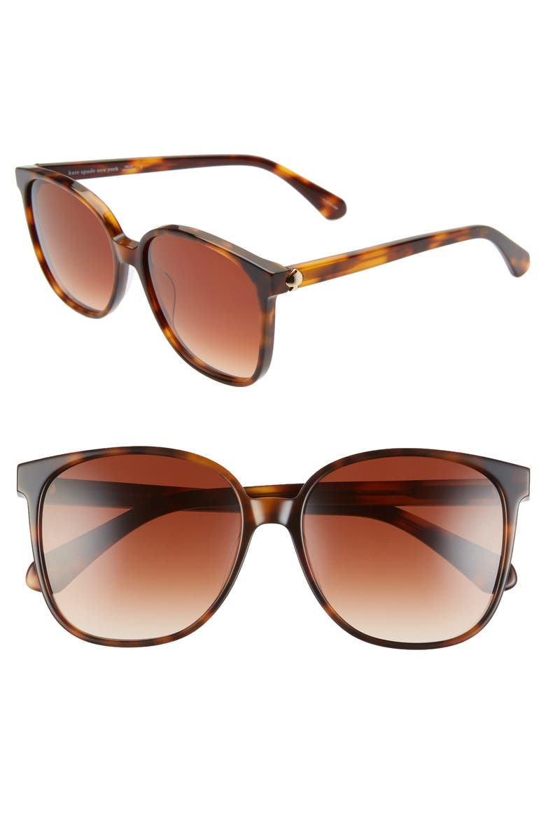 KATE SPADE NEW YORK alianna 56mm rounded cat eye sunglasses, Main, color, DKHAVANA/ BROWN GRADIENT