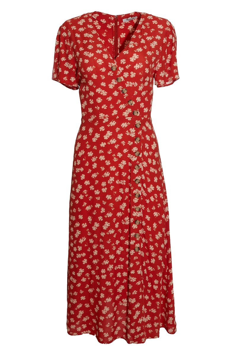 MADEWELL Hibiscus Print Button Wrap Midi Dress, Main, color, 800