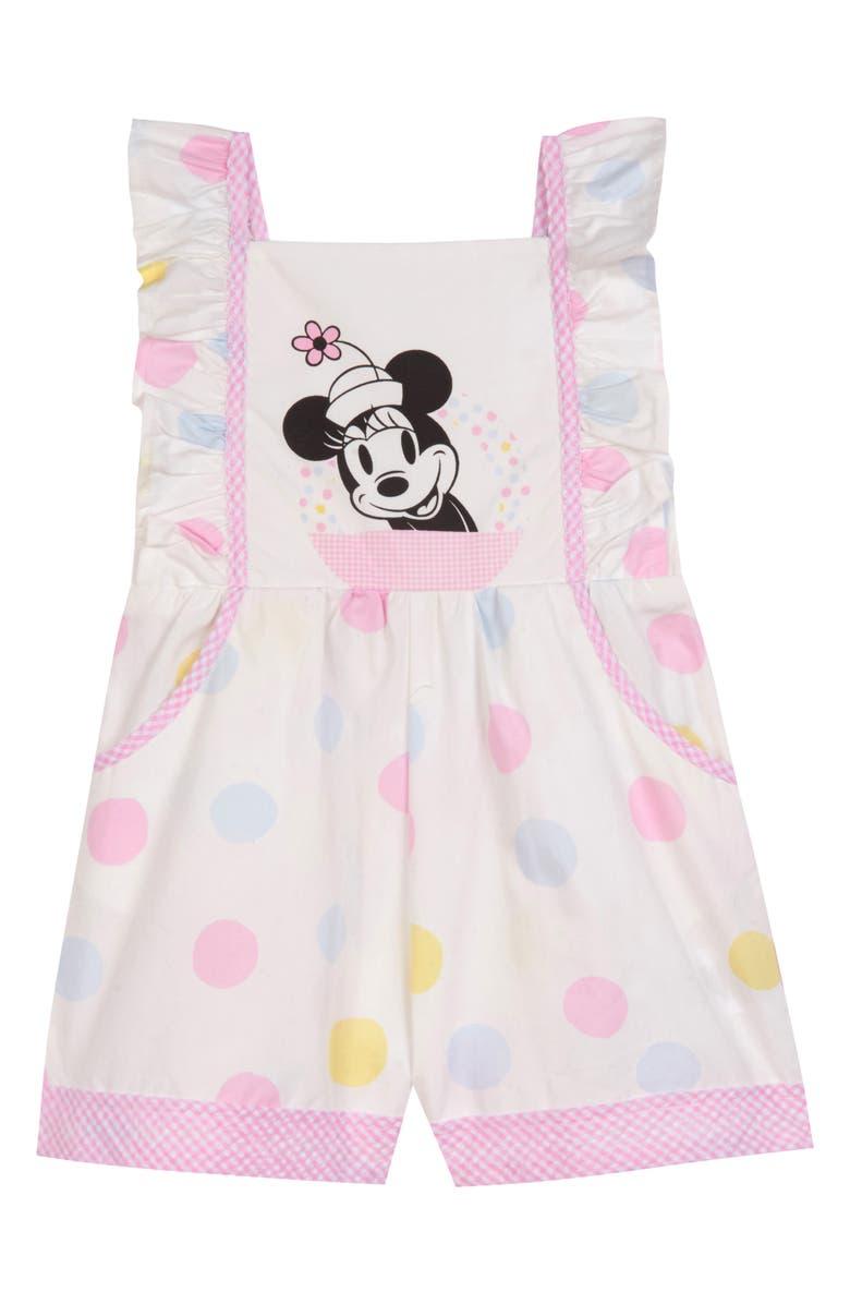 PIPPA & JULIE x Disney Polka Dot Romper, Main, color, WHITE