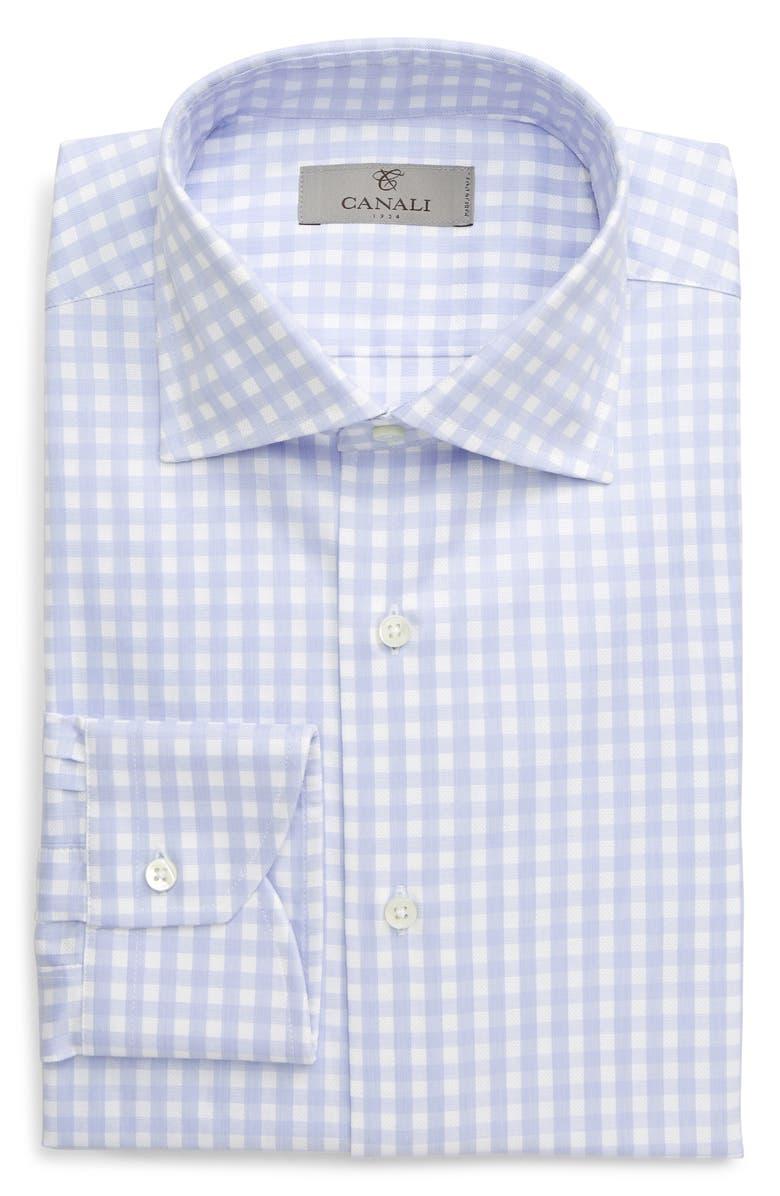 CANALI Regular Fit Check Dress Shirt, Main, color, LIGHT BLUE