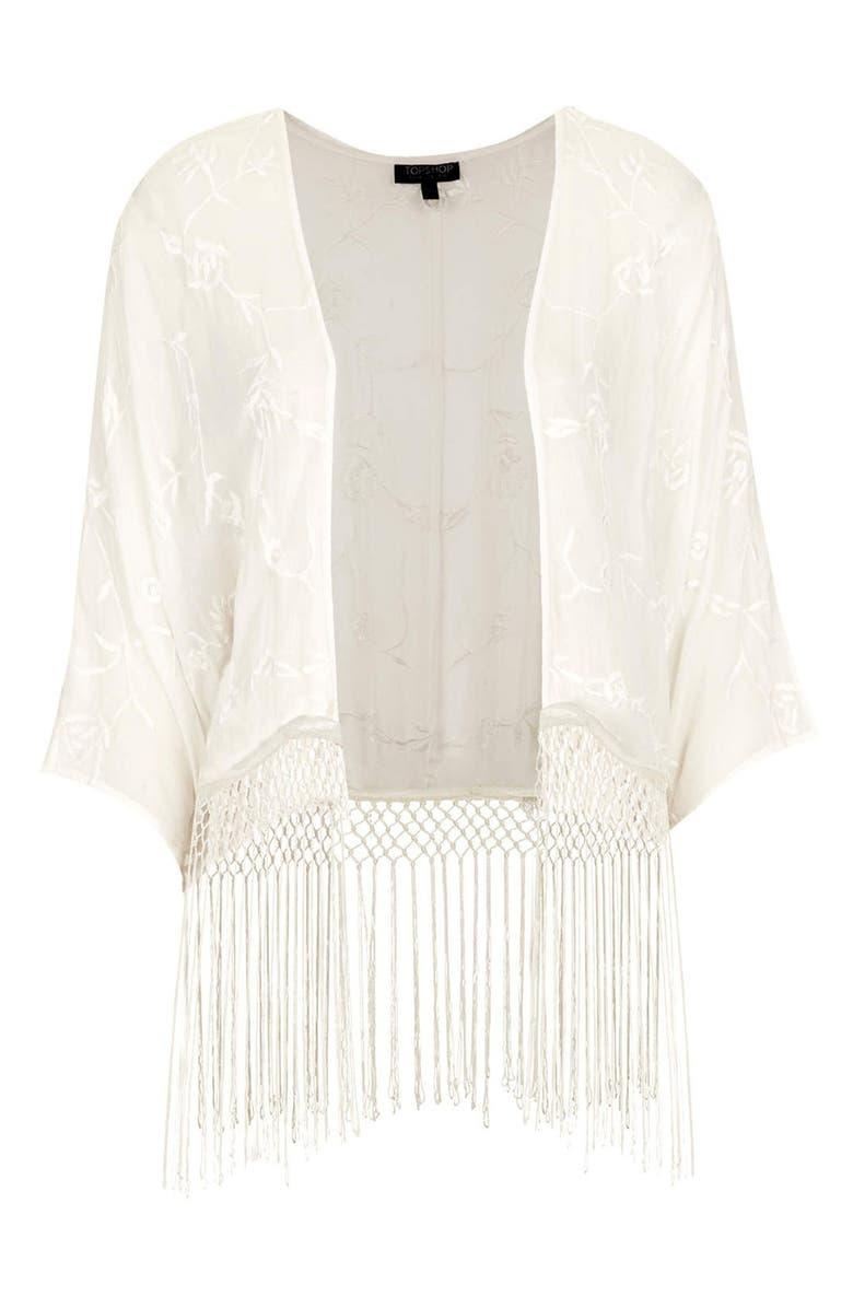 TOPSHOP Kimono Sleeve Fringe Cardigan, Main, color, 900