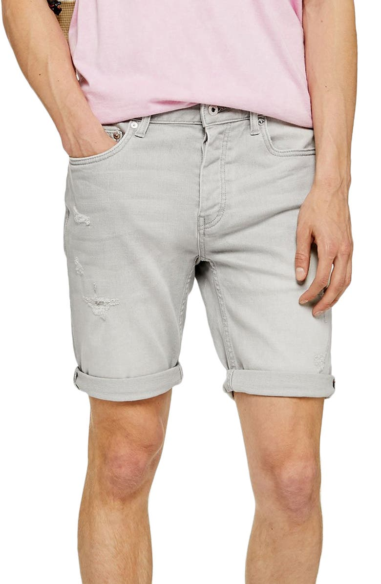 TOPMAN Stretch Skinny Ripped Shorts, Main, color, GREY