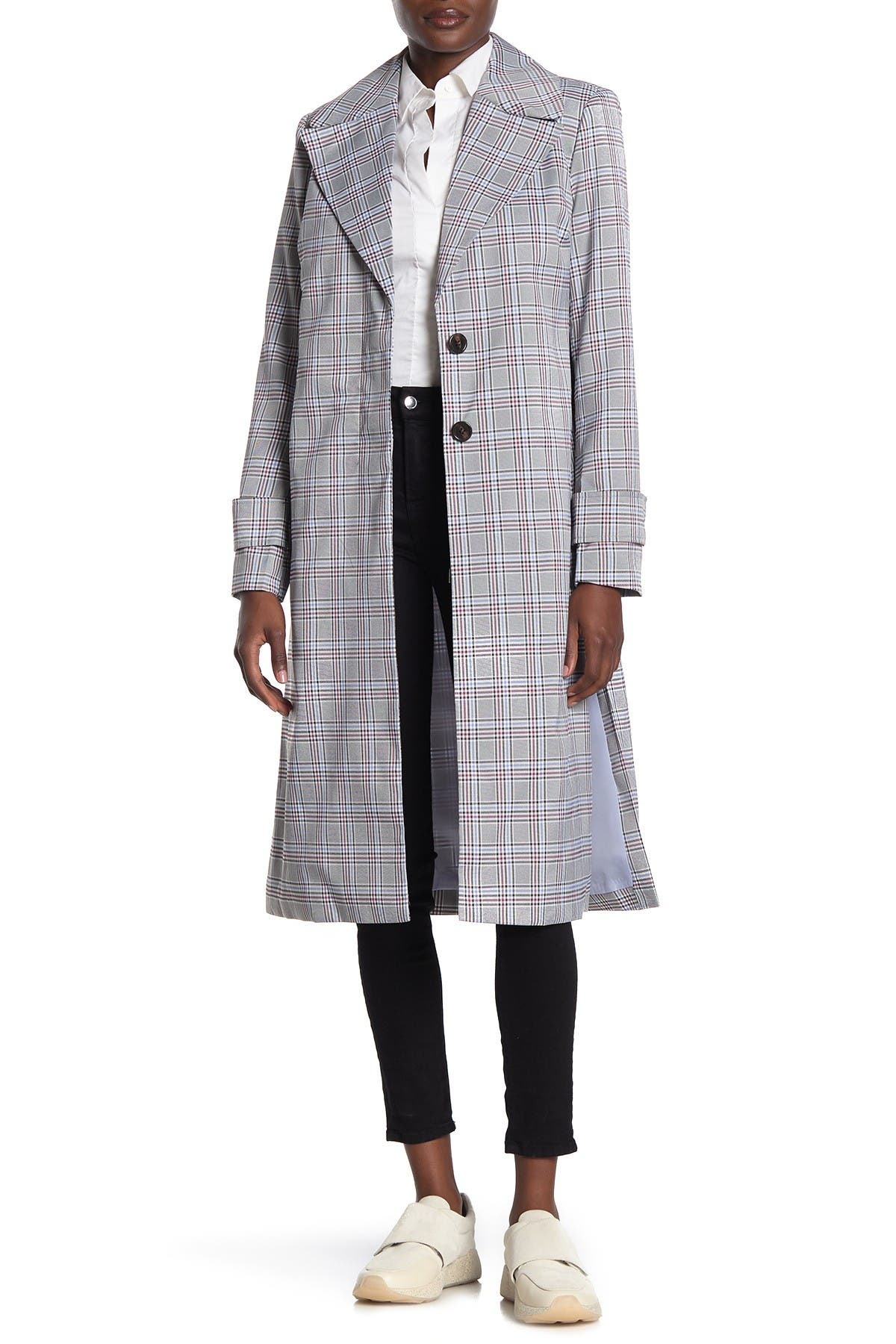 Image of AVEC LES FILLES Plaid Notch Collar Trench Coat