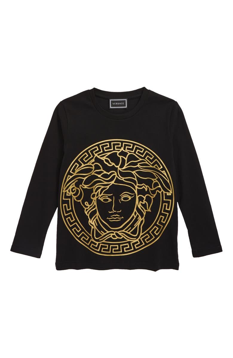 VERSACE Medusa Logo T-Shirt, Main, color, BLACK/ GOLD