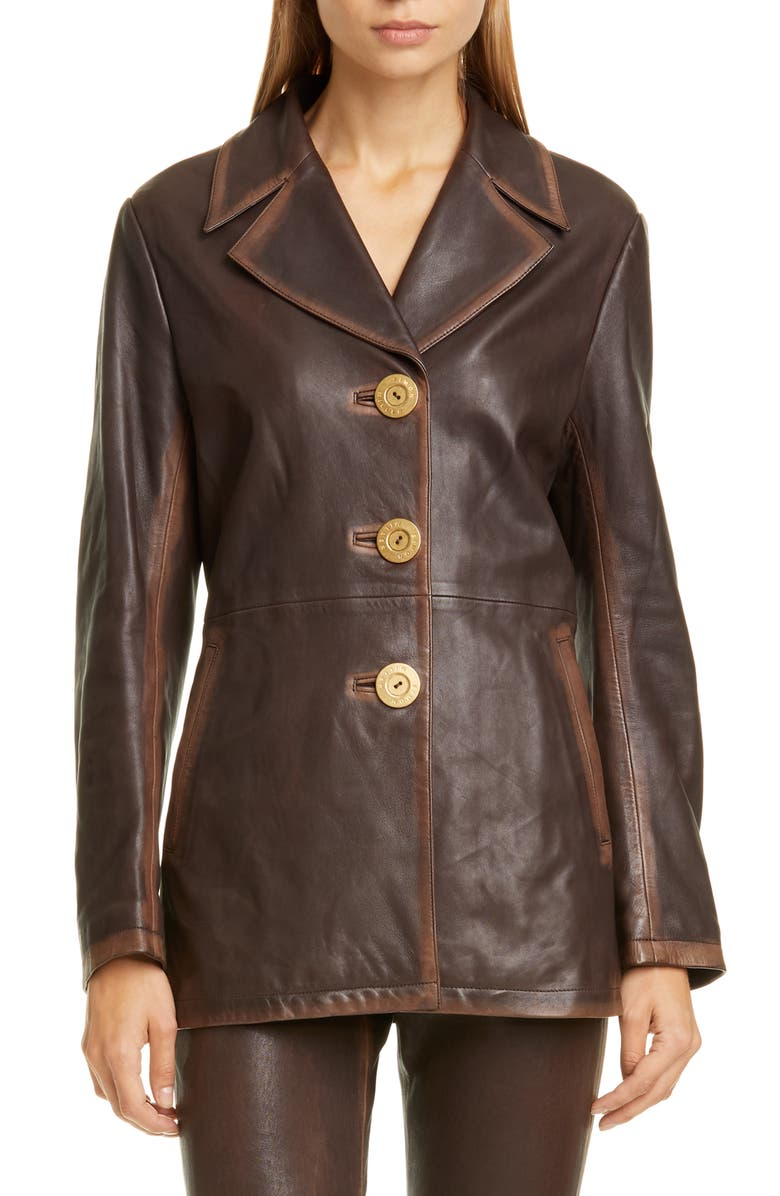SIMON MILLER Tiga Lambskin Leather Jacket, Main, color, CHOCOLATE