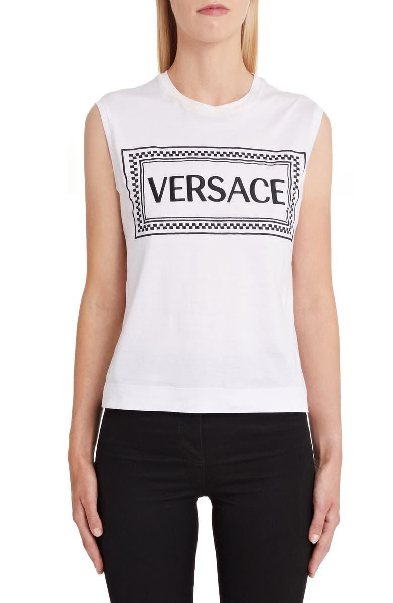 VERSACE Logo Tank, Main, color, WHITE