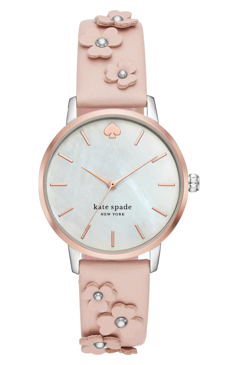 KATE SPADE NEW YORK metro flower leather strap watch, 34mm, Main, color, BLUSH/ MOP/ SILVER