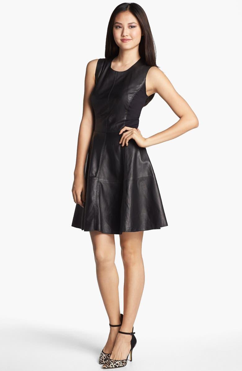HALOGEN<SUP>®</SUP> Back Zip Leather & Ponte Dress, Main, color, 001
