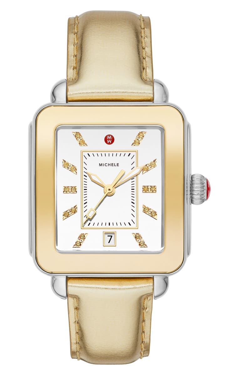 MICHELE Deco Diamond Sport Watch Head & Leather Strap Watch, 34mm x 36mm, Main, color, GOLD/ SILVER/ GOLD
