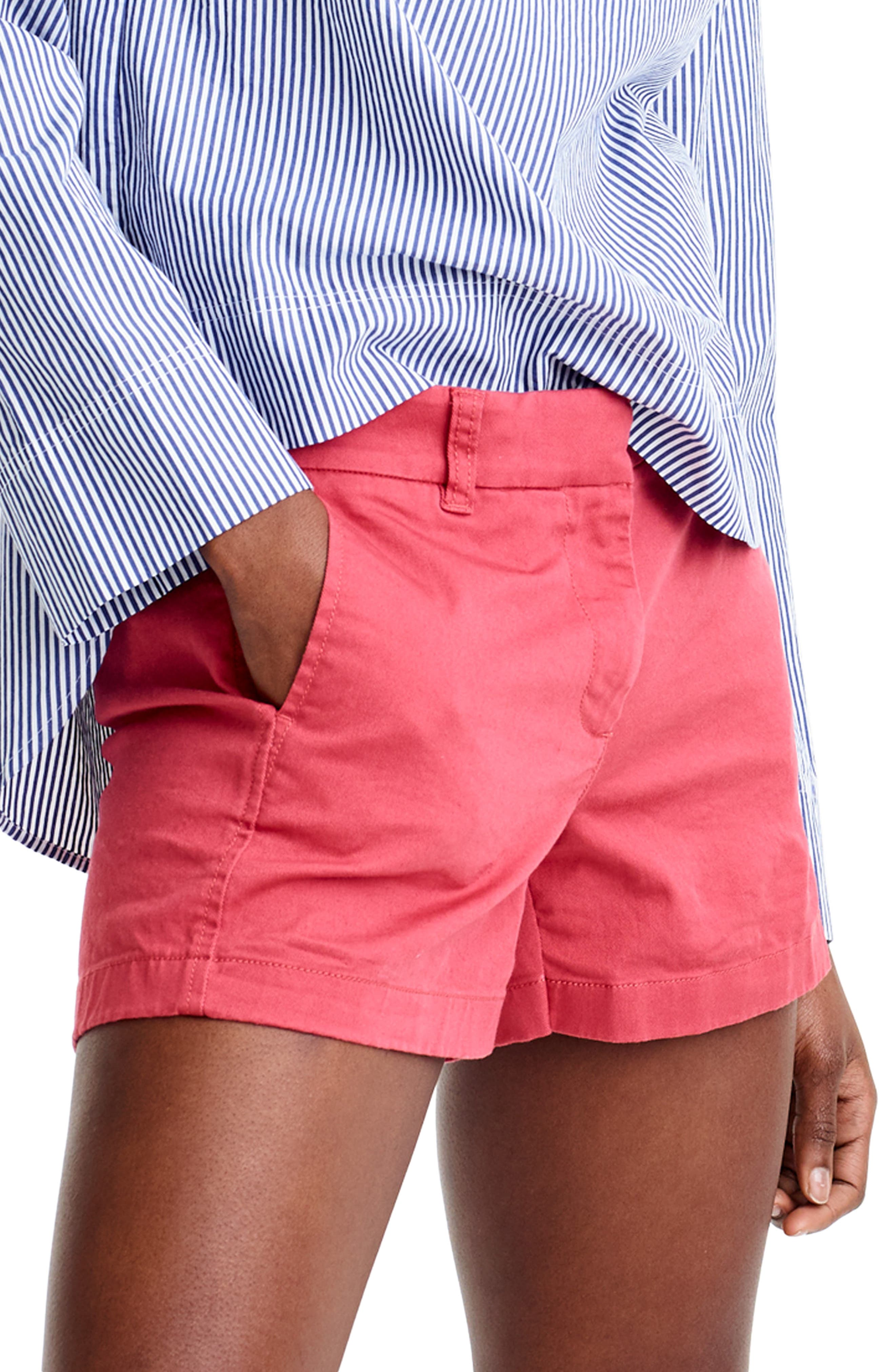 Women's J.crew Stretch Classic Chino Shorts,  0 - Red