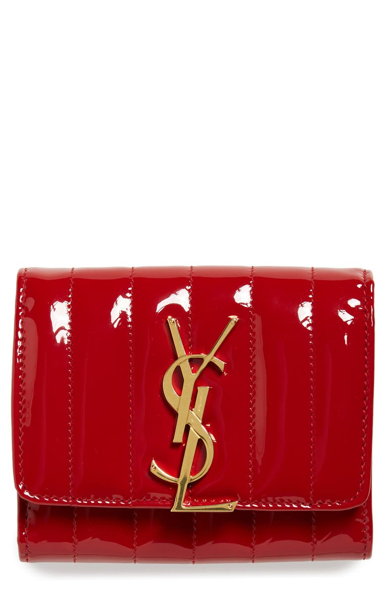 SAINT LAURENT Vicky Patent Leather Trifold Wallet, Main, color, ROUGE EROS/ ROUGE EROS