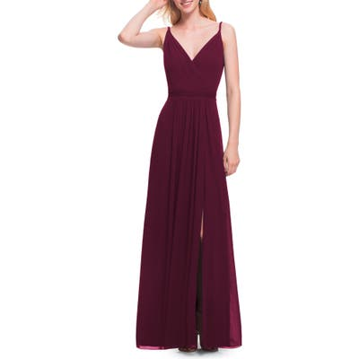 #levkoff Surplice Neck Chiffon Gown, Burgundy