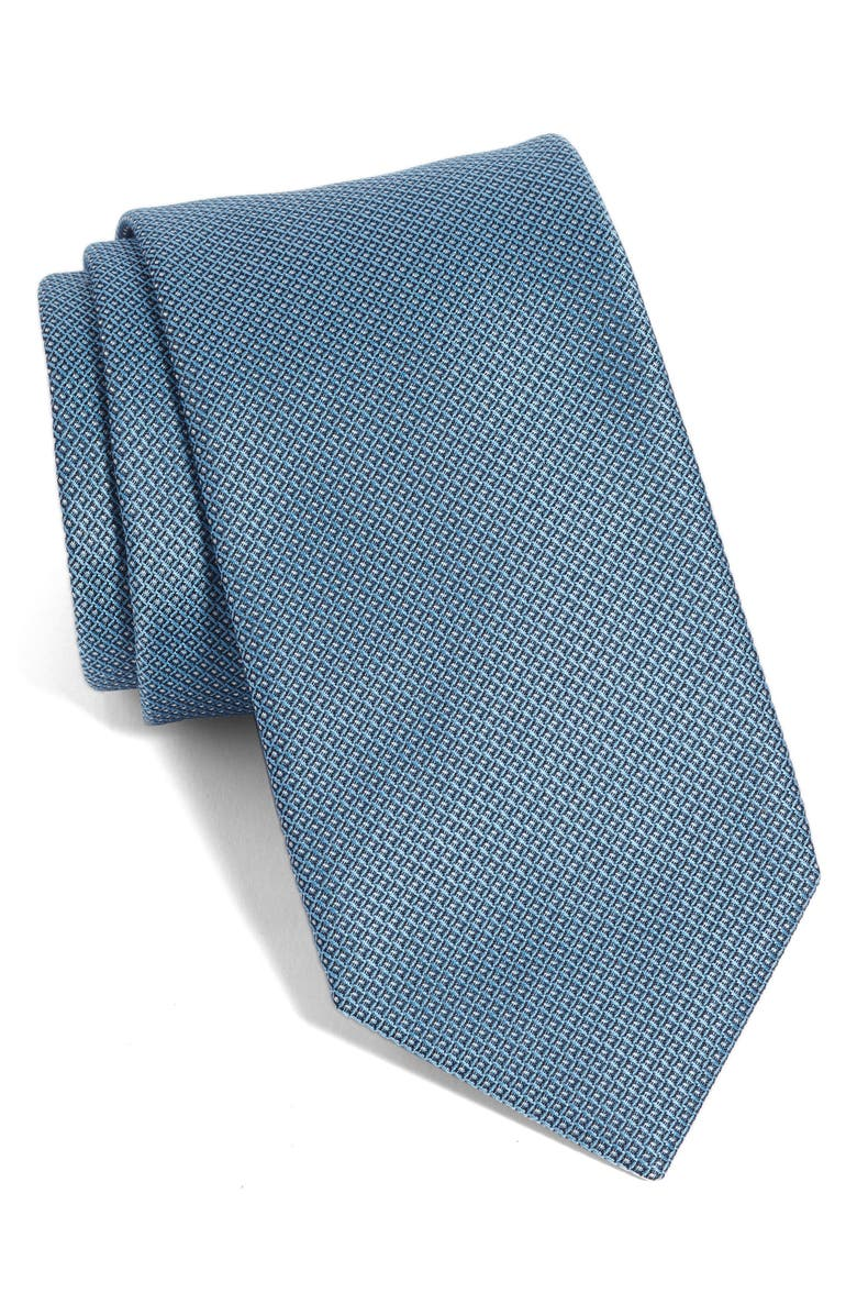 BOSS Grid Silk Tie, Main, color, 451