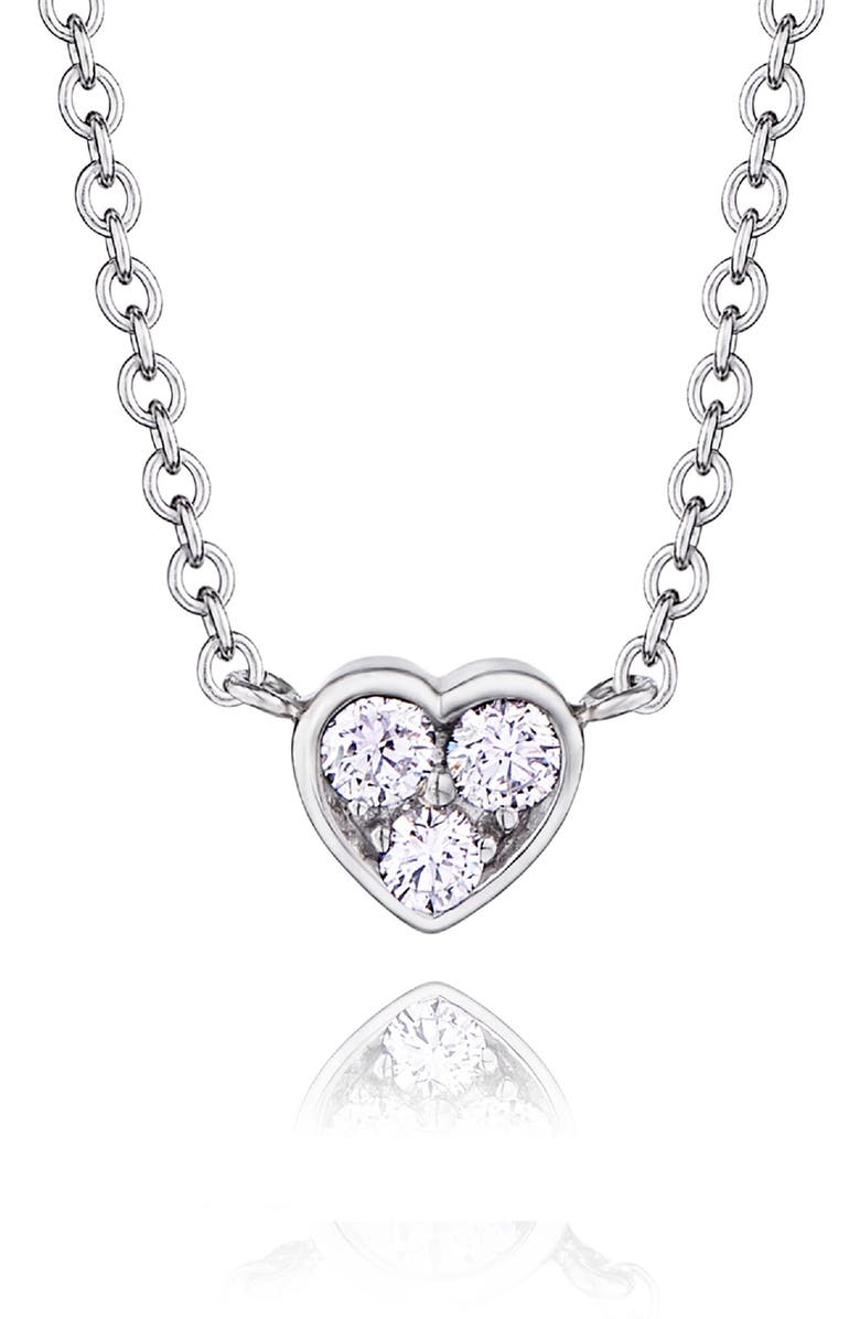 KWIAT Heart Pendant Necklace, Main, color, WHITE GOLD