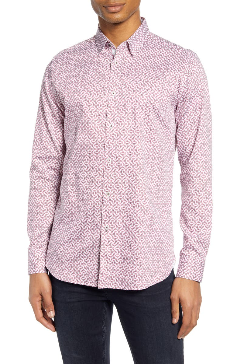 TED BAKER LONDON Hedoes Slim Fit Button-Up Shirt, Main, color, RED