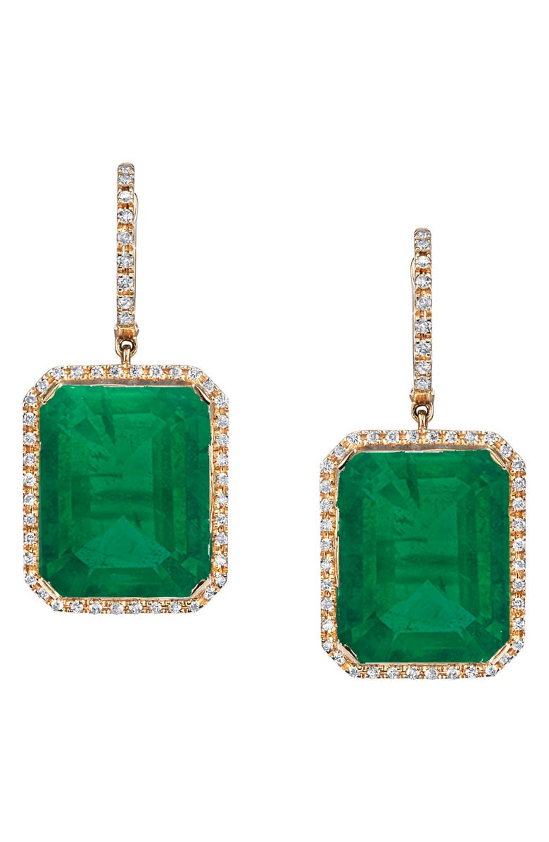 SHAY Portrait Gemstone Drop Earrings, Main, color, GOLD/ DIAMOND/ GREEN ONYX
