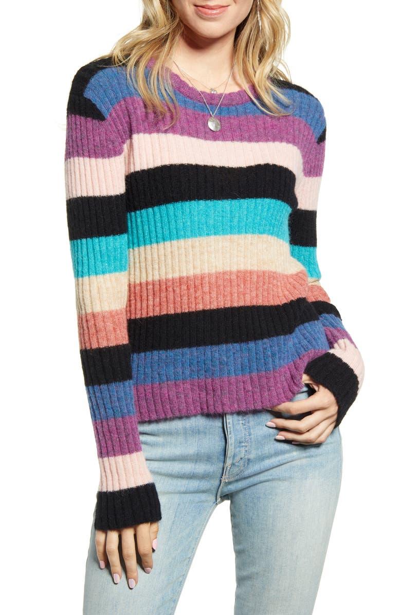 RAILS Kylie Stripe Alpaca & Merino Wool Blend Sweater, Main, color, BLACK RAINBOW MULTI
