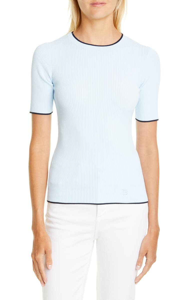 TED BAKER LONDON Ribbed Tipped Detail Short Sleeve Sweater, Main, color, LIGHT BLUE