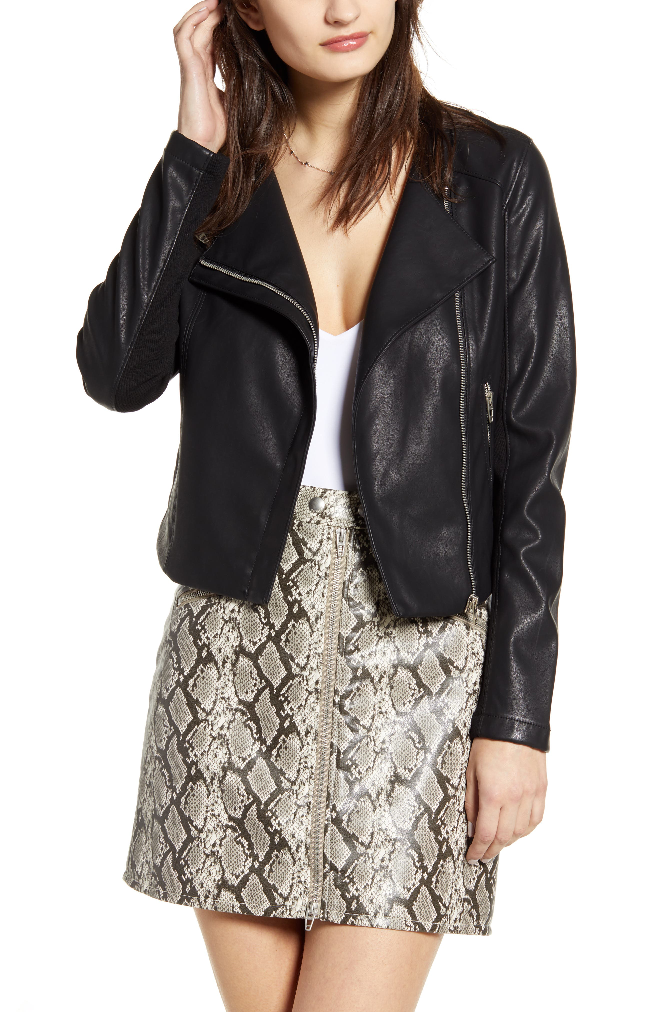 BLANKNYC Record Breaker Collarless Faux Leather Moto Jacket (Regular & Plus Size)